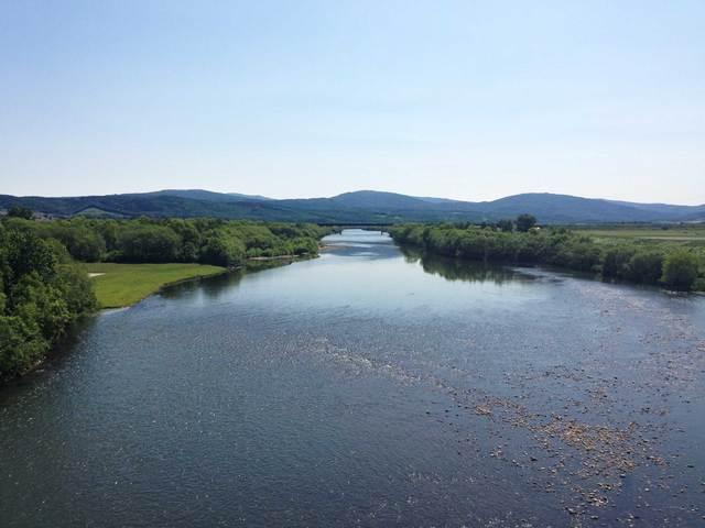 天塩川。暑くて川に飛び込みたい気分。